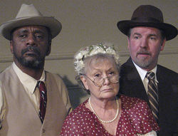Despite the grim mugs, F. Carl Brown, Juli Erickson and Don Long drive the comedy of Driving Miss Daisy.