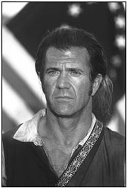 Mel Gibson is the voice of Rocky the flying rooster...wait, that opened last week. In Patriot, he kicks a bunch of ass.