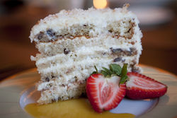 Munching coconut cake