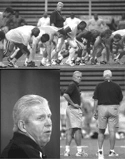 Dallas Cowboys head coach Bill Parcells may not have a lot of talented football players, but as much as he runs the team, they will at least be in shape. Below right, owner and general manager Jerry Jones shows Parcells how he keeps fit by combining torso twists with plastic surgery.