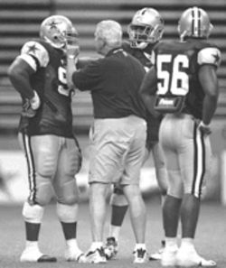 Who says Bill Parcells isn't a sweetheart? After defensive tackle Willie Blade got into a fight with center Gennaro DiNapoli, Parcells lovingly showed Blade how he will rip his fool head off if he does something that stupid again.
