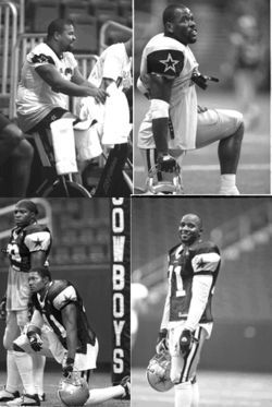 Clockwise from top left: Dallas Cowboys All-Pro guard Larry Allen laughs at the fact that he makes a lot of money and is lazy; meanwhile, Troy Hambrick uses a mouthpiece to alter his appearance; standout safety Roy Williams played collegiate ball for the Oklahoma Sooners, which makes him sort of a superhero; and Woody Dantzler towers over Terence Newman, except in terms of his paycheck.