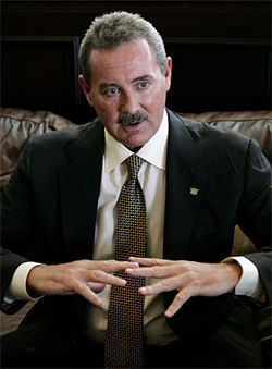 "R. Allen Stanford faces federal allegations that his bank was a ""massive Ponzi scheme."""