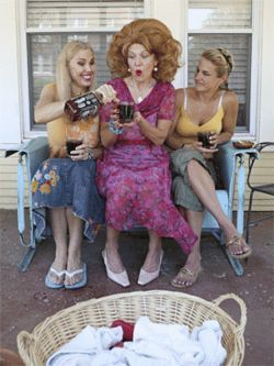 Marisa Diotalevi (center, flanked by Sue Loncar, left, and Diane Worman) is the one to watch in Laundry and Bourbon. With each sip of hooch, she gets a little wobblier on her pink high heels.