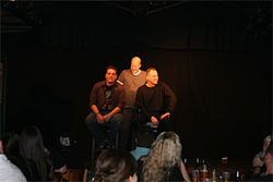 "Chris Rager, Dave Little and Mark Orvik play an improv game they call ""Experts"" during a recent show."