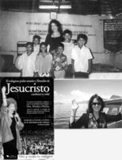 Bridewell wrapped herself in the guise of an evangelist after taking trips with Marilyn Hickey Ministries. Top: Bridewell in India. Bottom right: On Lake Titicaca, Bolivia, in fall 2000. Bottom left: a flier for Hickey's Bolivia crusade, from Bridewell's belongings.