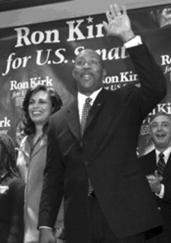 If elected, Kirk, pictured with his wife, Matrice, at his campaign kickoff on January 22, would be Texas' first black senator.