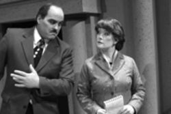 "Marc Rouse as ""Spuds"" Gillespie and Maureen Whisman as Nora Gray think monochrome thoughts in Pegasus Theatre's comeback, Mind Over Murder!"