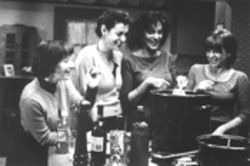 Sauce in the city: from left, Lily Knight, Sean Young, Mercedes Ruehl, and Dinah Manoff eat and bond and stuff.