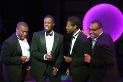 Maurice Verrett Johnson, Akron Watson, Walter Lee and Calvin S. Roberts blend their voices in Smokey Joe's Cafe at WaterTower Theatre.