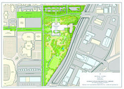 On its Web site, the George W. Bush Foundation, whose primary purpose is the development of the Bush library, posted this 2008 site plan of the future home of the library campus, which included the land upon which University Gardens once stood.