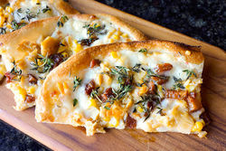 Roasted white corn and clam flatbread.