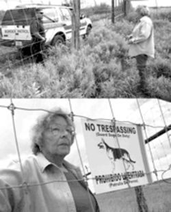 Betty Sutton and her husband, Joe, have no tolerance for illegal immigrants who use their Jim Hogg County ranch as a detour around a Border Patrol checkpoint. Above: Oliver Trevino, a Border Patrol officer, talks to Sutton about a group of border-crossers who recently jumped her fence.