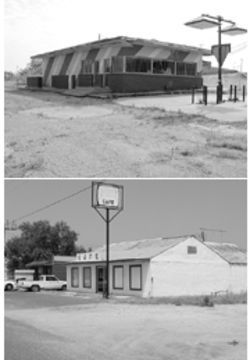 Pyles' withered restaurant roots: The one-time Phillips 66 truck stop his family once owned just outside Big Spring, above, has been vacant for more than 20 years; below is what's left of the Coahoma Café in Coahoma, Texas, the Pyles family's third restaurant.