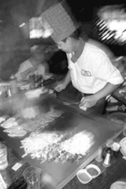 Hibachi chefs at Japon serve most meals on the fly, literally.
