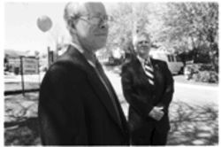 Former tenants Hal Barker, left, and Ted Barker, standing outside the Williams Run apartments, say they felt compelled to dig into the details of the complex&#039;s sale. &quot;They destroyed a marvelous community,&quot; Ted says.