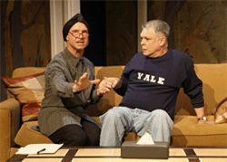 Dog owner Greg (John S. Davies, right) is bewildered by the advice of Leslie (Steven Pounders), a psychotherapist, in CTD&#039;s Sylvia.