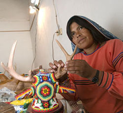 Huichol artist Olivia Carrillo makes peyote-inspired art in Real de Catorce.