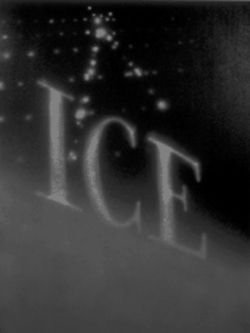 &quot;Ice,&quot; a 1993 acrylic painting by Ed Ruscha, now on view at Fort Worth&#039;s Modern
