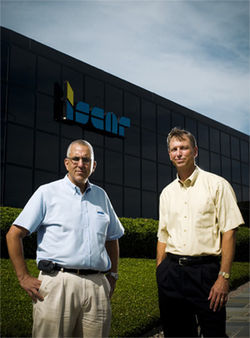 "Iscar Metals facilities manager David Wooten, left, and executive vice president Reggie Louder manage a four-acre industrial site on Interstate 20 in Arlington according to the Dirt Doctor regimen. Louder says, ""There's no reason not to."""