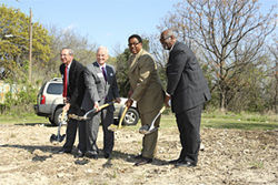 Caraway, who believes in working his district from the ground up, ceremoniously breaks ground on March 25 for a East Oak Cliff housing project.