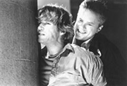 I thought you were my friend: Jeff Bridges and Tim Robbins tussle on Arlington Road.