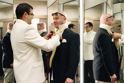 Jamie Nabozny -- who won the first gay-bullying lawsuit against his school in 1996 -- and fiance Bo get measured for wedding tuxes.
