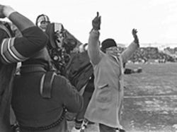Green Bay Packers head coach Vince Lombardi flashes a rare smile after his boys score the touchdown that beat the Cowboys in the NFL title game on December 31, 1967.