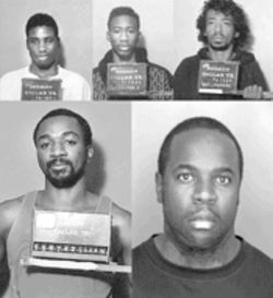 "The suspects, clockwise from top left: 1) Randy Shawn Brown got 65 years for murder; he says he regrets his role in the attack but insists that ""Money Mike"" Edwards and Mark Larmond were the only two triggermen. 2) Michael Charles Edwards plea-bargained for 25 years. A South Dallas native, he knew LaTonya Williams from school. He declined repeated requests for an interview. 3) Gregory Allen was identified by Edwards as the mysterious ""Soldier."" Allen was never charged in the bathtub shooting, because police only had information about his involvement from co-defendants.  A woman with whom the police never spoke, however, witnessed events leading up to the attack and says Soldier was the mastermind. Allen has a lengthy criminal record. 4) The murder charge against Christopher Barronette was dropped for lack of evidence, even though two witnesses and two suspects placed him at the scene of the crime. LaTonya insists Barronette was there. ""I never forget a face,"" she says. 5) A murder charge against Phillip King was also dropped. King later did time in prison for an organized-crime conviction."