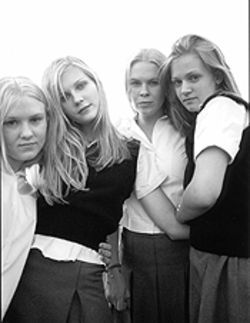 Four out of five immaculate maidens: Chelse Swain, Kirsten Dunst, Leslie Hayman, and A.J. Cook make '70s suburban angst dreamy.