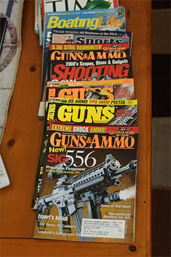 Williams' munitions mags are stacked neatly right next to the Led Zeppelin biography, Hammer of the Gods.