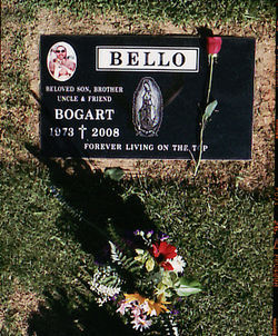 Bogart Bello's gravestone overlooks his old gang's East L.A. territory