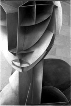 "Nasher's grotesquely enlarged copy of Naum Gabo's masterpiece ""Constructed Head  No. 2"" distorts the eloquence of the far smaller original."
