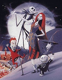 Jack Skellington, Sally, and Lock, Shock, and Barrel plot to take over Christmas.