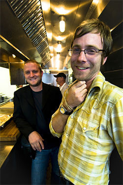 Zielke and Jeffers pause in Smoke's kitchen, unruffled by the media hype that surrounds their new restaurant's opening.