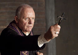 Hold the pea soup: Anthony Hopkins gets a little exorcise in.