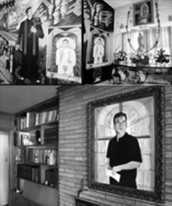 Clockwise, from top left: one of the murals that features Father Lucio standing up to his enemies; the effigy of the Virgin Mary he used to pray to at Casita Maria; Lucio has hung a portrait of himself from a healthier time above his fireplace.