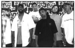 From left, Jurassic 5's six: Nu-Mark, Zaakir (a.k.a. Soup), Chali 2na,  Akil, Cut Chemist and Marc 7