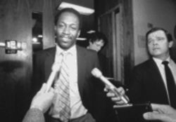 Lenell Geter leaves a Dallas courtroom in March 1984, the month in which District Attorney Henry Wade ordered all charges against Geter dropped. The case had attracted worldwide media attention, but the results of the reinvestigation of the Balch Springs Kentucky Fried Chicken robbery had never been reported.