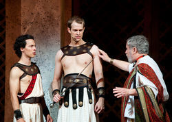 Alex Organ, center in the title role of Coriolanus at Shakespeare Dallas, was in more than one of this year's best plays.