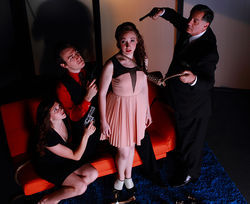 Ashton McClearin, Jordan Willis, Erica Harte and Michael Serrecchia star in Theatre Three's The Art of Murder, a drama that shoots itself in the foot.