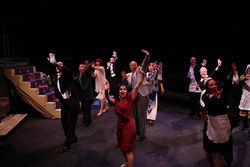It's a big crowd on a too-small stage in Theatre Three's not-quite-comatose musical The Drowsy Chaperone.