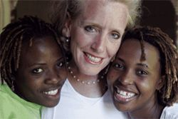 Alexis Hefley, center, gave up a career in banking to work with Ugandan orphans.