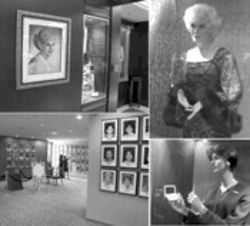 Pretty in pink: The Mary Kay Museum, located inside the corporate headquarters in Addison. Clockwise from top left: A portrait of founder Mary Kay Ash, who died in 2001; life-size figures of Ash and the company's current sales force uniforms; a gallery devoted to national sales directors.