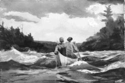 "Fishing for a lecture? The Amon Carter Museum discusses Winslow Homer's work, like this piece, ""Canoe in the Rapids,"" 1897."