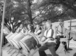 Bang a gong...or a drum: The Kobushi Taiko Drummers hit it during their Japanese-inspired set, with what appear to be very large breadsticks.