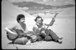 Go for the throat: Paul Pena, left, learns the musical traditions of the Tuvans from Kongar-ol Ondar in Genghis Blues.