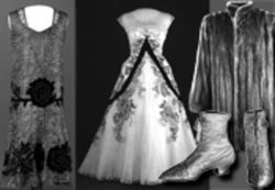 Style and substance: The famous wives in First Ladies are remembered for their charity and their couture, including (from left to right) Grace Coolidge's black and gold gown, Mamie Eisenhower's pink dress, Ida McKinley's satin boots and Eleanor Roosevelt's fur coat.