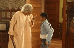 Madea--played by Tyler Perry, in a scene from the hit movie Madea's Family Reunion--knows how to connect with her audience.