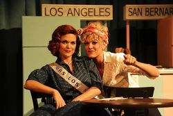 Desperate housewives: Sherry Hopkins and Morgan McClure play 1950s hausfraus trying to win a homemaking pageant in the comedy Mrs. California at Contemporary Theatre.